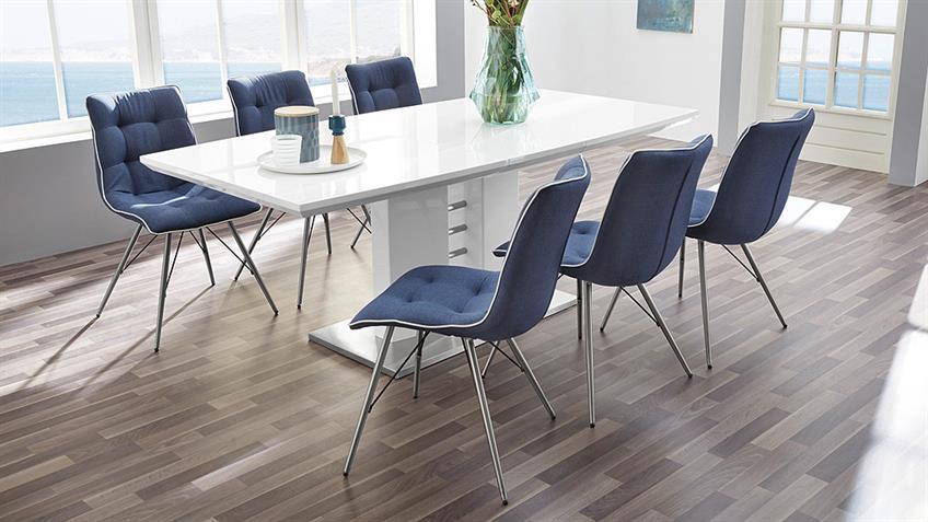 Stuhl OSLO 4er-Set Bezug blau Keder weiß Gestell Edelstahl