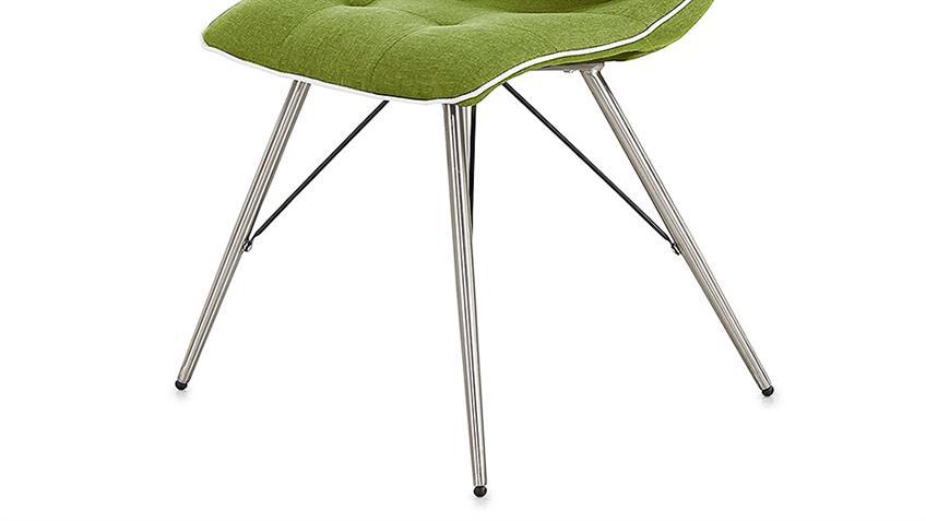 Stuhl OSLO 4er-Set Bezug grün Keder weiß Gestell Edelstahl