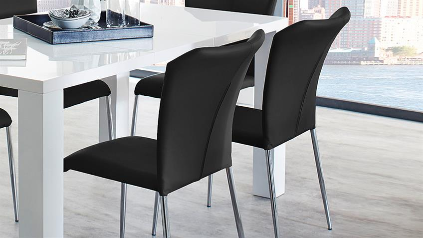 Stapelstuhl ZELL 4er-Set Stuhl in schwarz und Chrom