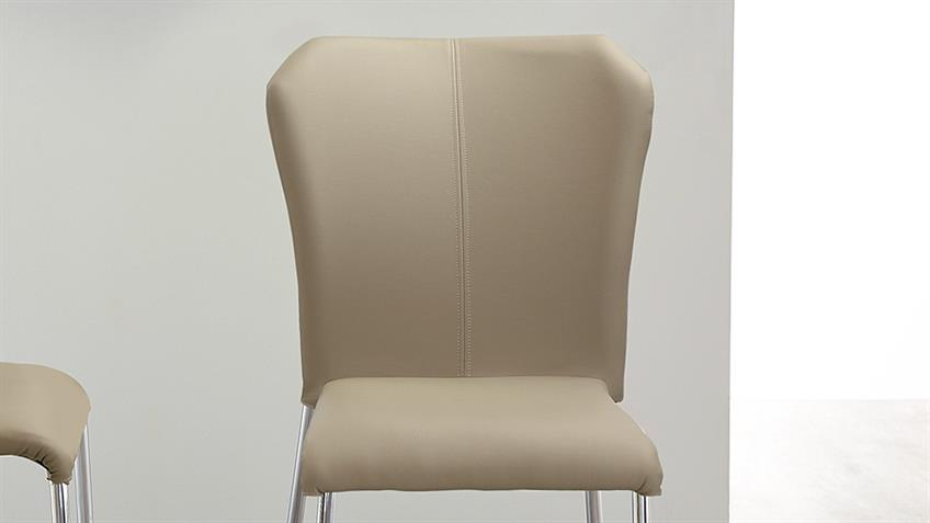 Stapelstuhl ZELL 4er-Set Stuhl in cappuccino und Chrom