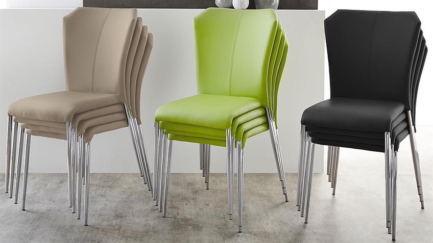 Stapelstuhl ZELL 4er-Set Stuhl in grün und Chrom