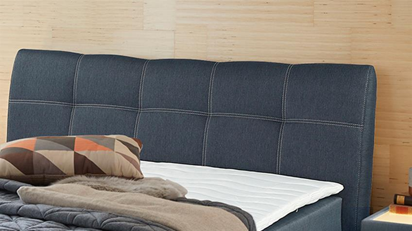 boxspringbett amelie 140 graublau mit bettkasten topper. Black Bedroom Furniture Sets. Home Design Ideas