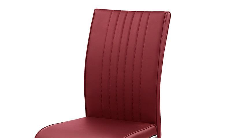 Schwingstuhl POOL 4er-Set Stuhl rot und Edelstahl