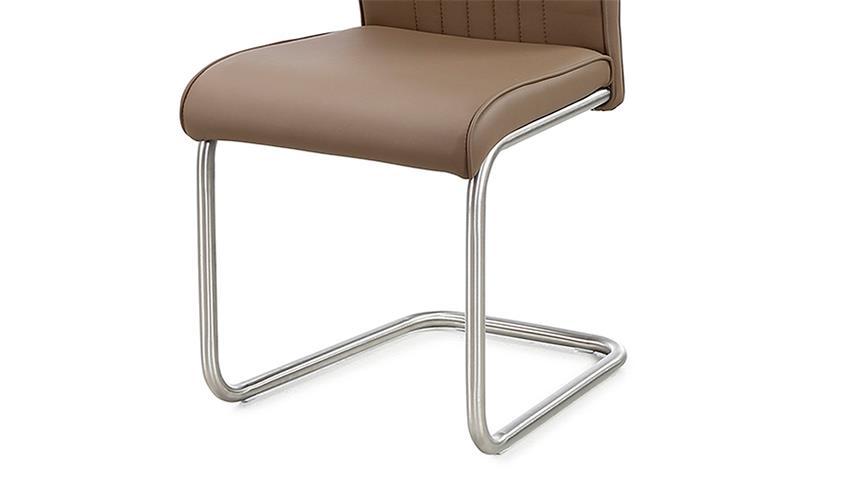 Schwingstuhl POOL 4er-Set Stuhl cappuccino und Edelstahl