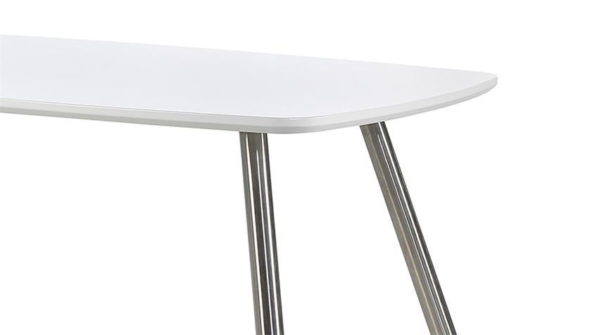 Tischgruppe ASCONA POOL in weiß matt cappuccino Edelstahl