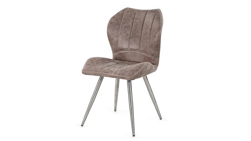Stuhl FACE 4er-Set in Vintage grau braun und Edelstahl