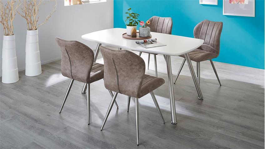 Tischgruppe ASCONA FACE in weiß matt Vintage grau braun