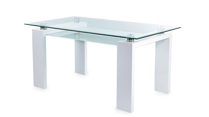 Esstisch WITTEN Klarglas Glas weiß Hochglanz 160x90 cm