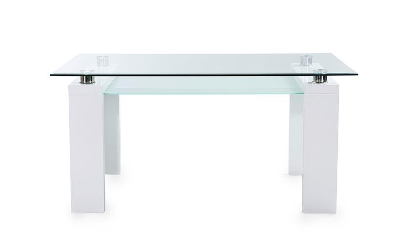 Tischgruppe WITTEN POOL Klarglas weiß Hochglanz schwarz