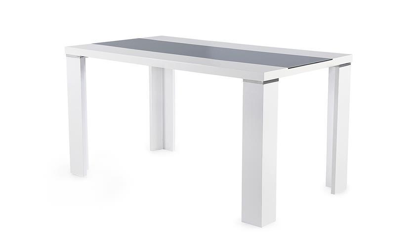 Esstisch Weiß Hochglanz Glas ~ Esstisch AHAUS in Glas grau und weiß Hochglanz 140×80 cm