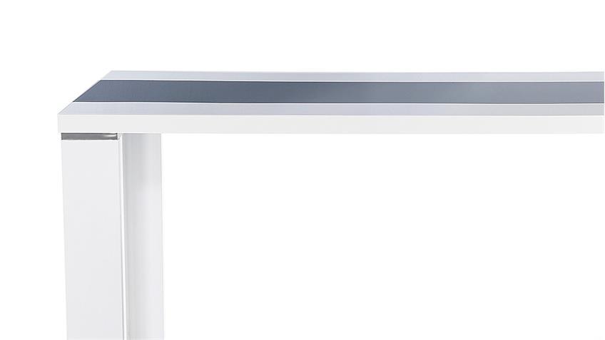 Esstisch AHAUS in Glas grau und weiß Hochglanz 140x80 cm