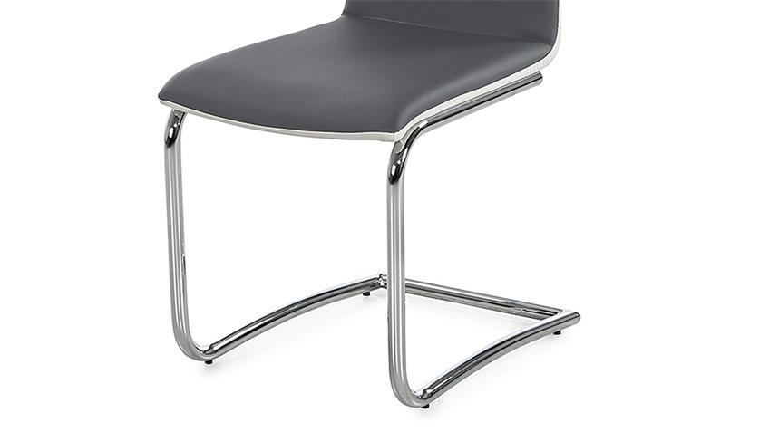 Schwingstuhl GENF 4er-Set Stuhl in grau weiß und Chrom