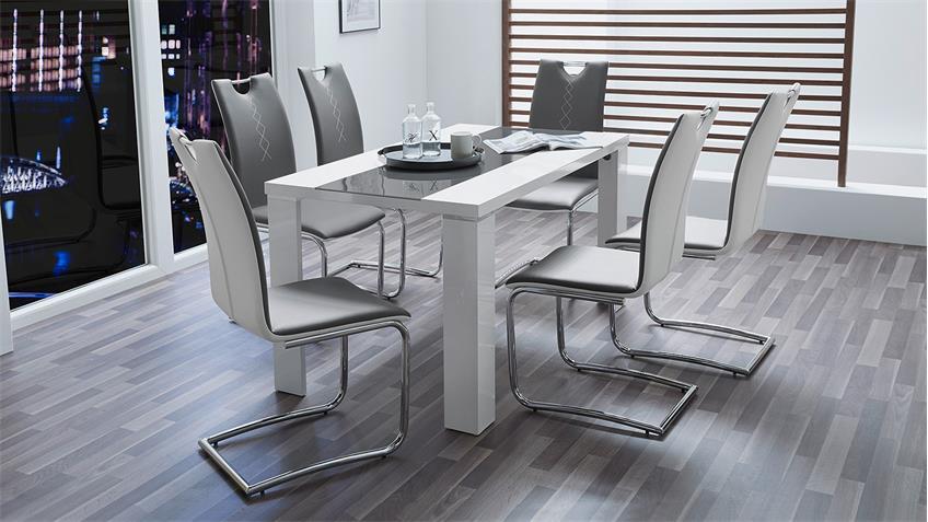Tischgruppe AHAUS GENF in weiß Hochglanz und grau Chrom