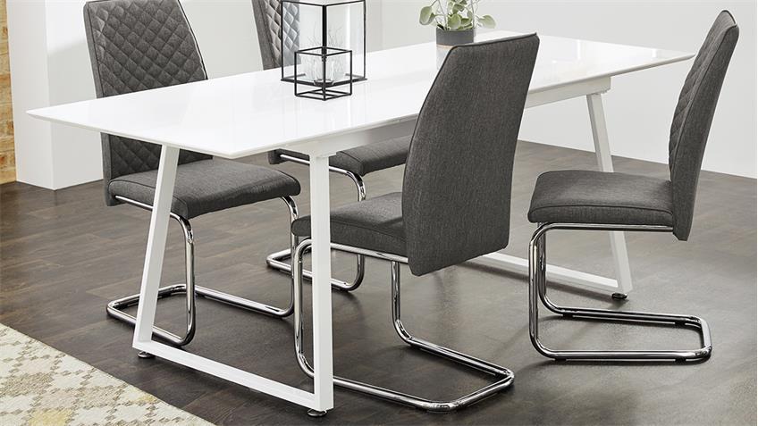 esstisch aaron wei hochglanz ausziehtisch 160 200x80cm. Black Bedroom Furniture Sets. Home Design Ideas
