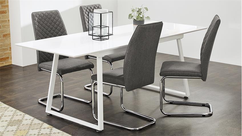 essgruppe aaron ausziehtisch wei hochglanz mit 4x stuhl benno grau. Black Bedroom Furniture Sets. Home Design Ideas