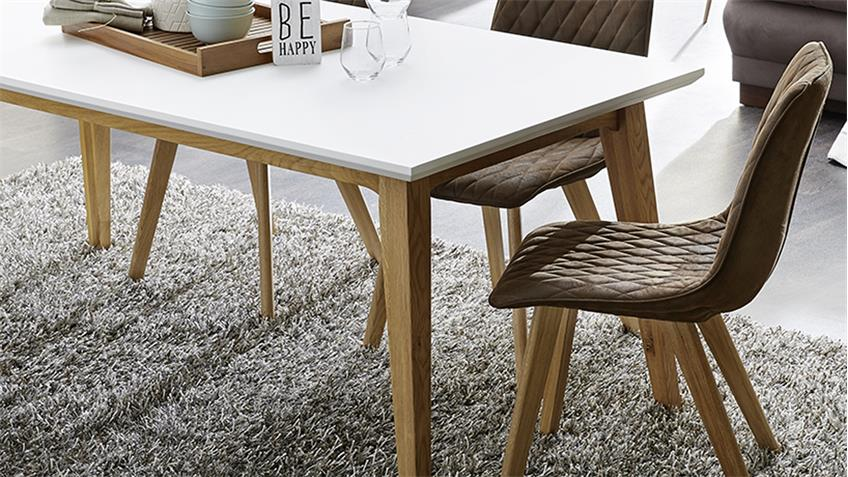 essgruppe gunnar wei eiche massiv 180x90 mit 4x stuhl vita antikbraun. Black Bedroom Furniture Sets. Home Design Ideas