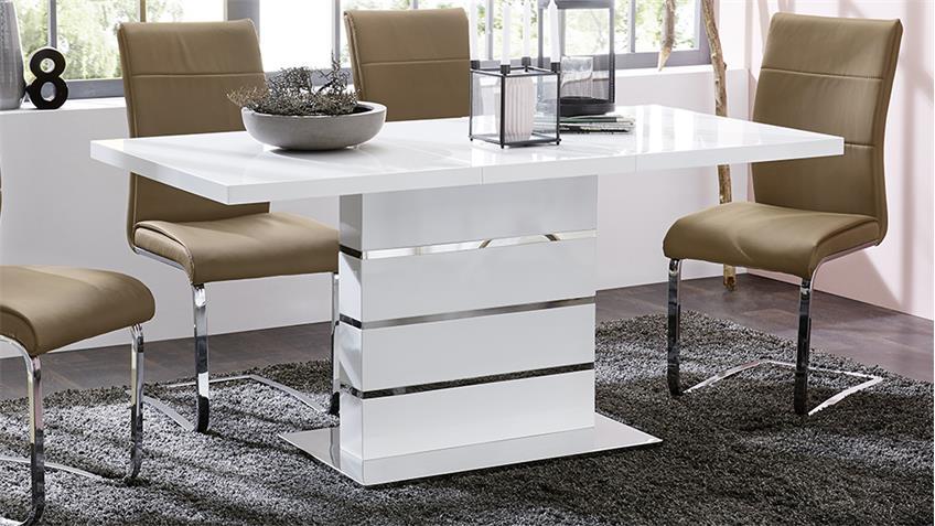 esstisch antonia ausziehbarer s ulentisch in hochglanz wei. Black Bedroom Furniture Sets. Home Design Ideas