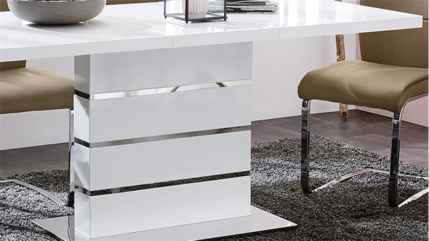 Esstisch Antonia ausziehbarer Säulentisch in Hochglanz weiß