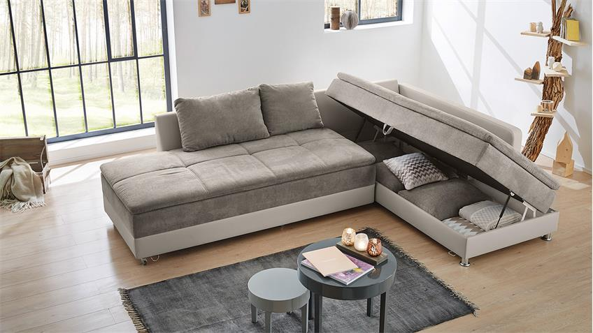 Ecksofa Wohnlandschaft L Modena Sofa greige Bettfunktion