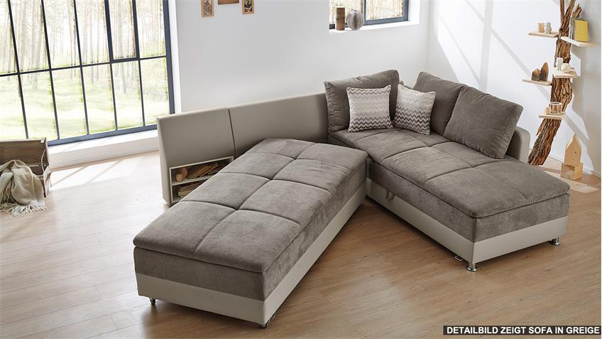 wohnlandschaft links modena ecksofa sofa bett in wei grau. Black Bedroom Furniture Sets. Home Design Ideas