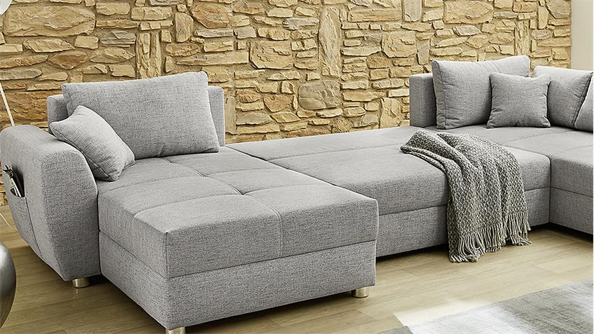 wohnlandschaft starnberg u form sofa grau bettfunktion. Black Bedroom Furniture Sets. Home Design Ideas