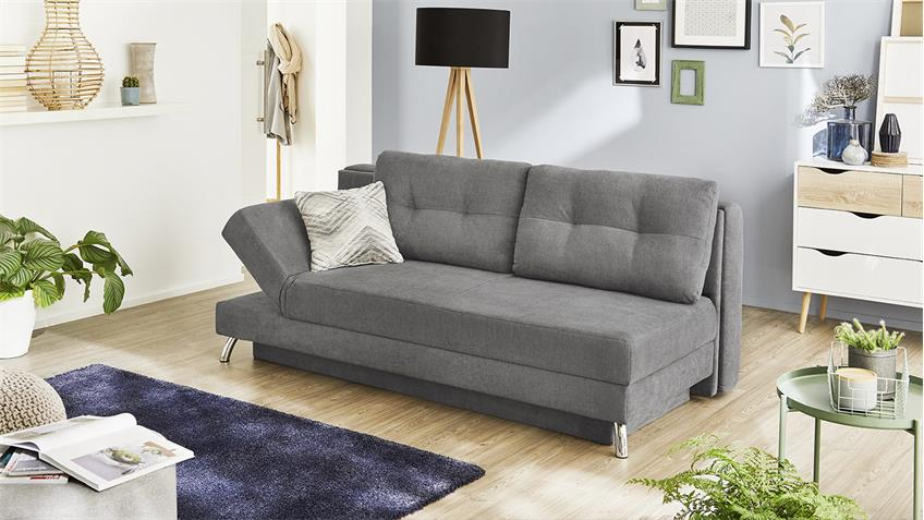 schlafsofa magics funktionssofa sofa in hell grau mit bettkasten 202. Black Bedroom Furniture Sets. Home Design Ideas