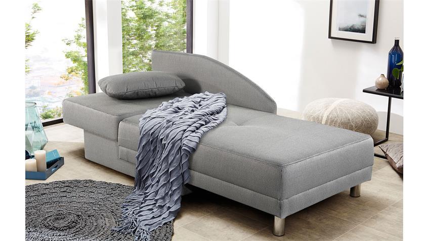 Schlafsofa ROY Stoff grau inkl. Bettkasten Kissen 84x200 cm