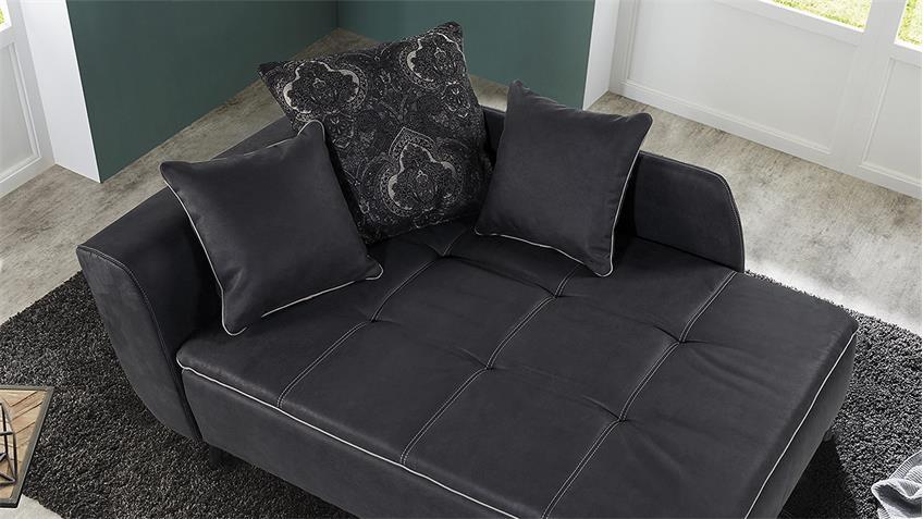 Recamiere ROMAN Schlafsofa Sofa dunkel grau mit Tonnentaschenfederkern