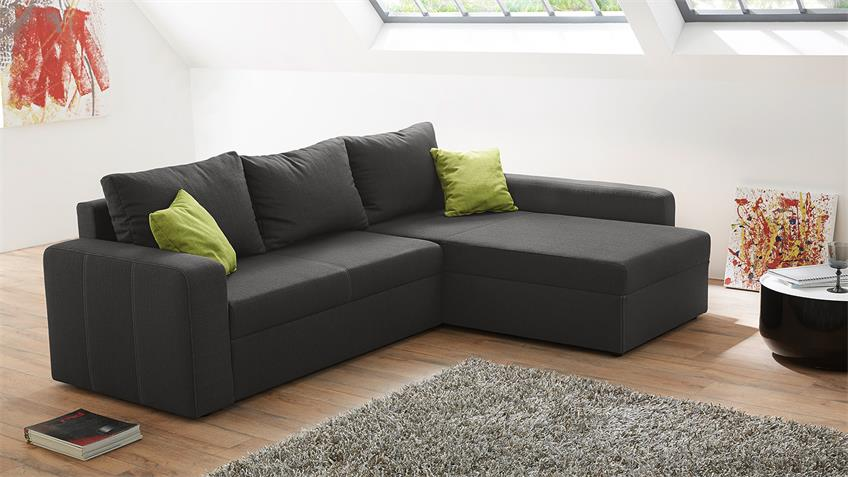 ecksofa viper sofa in dunkelgrau und gr n mit bettfunktion. Black Bedroom Furniture Sets. Home Design Ideas