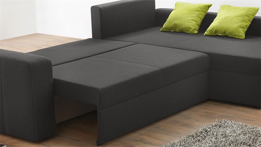 Ecksofa VIPER Sofa in dunkelgrau und grün mit Bettfunktion