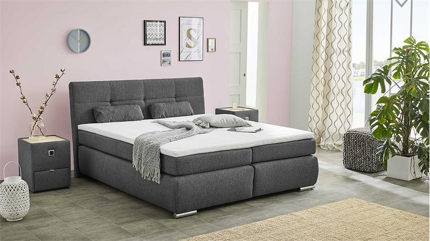 boxspringbett alexa bett schlafzimmerbett schwarz anthrazit mit topper. Black Bedroom Furniture Sets. Home Design Ideas