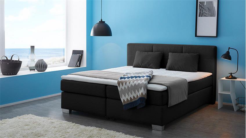 Boxspringbett FELICITA Bett Schlafzimmerbett in schwarz mit Topper
