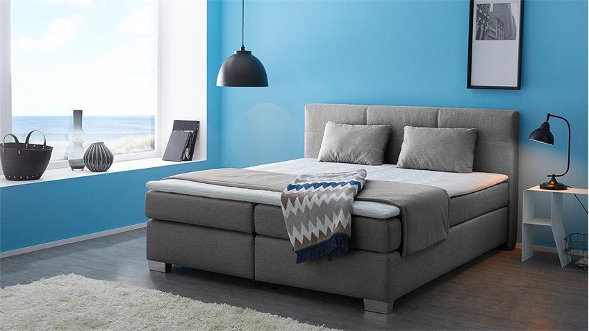 Boxspringbett FELICITA Bett Schlafzimmerbett grau mit Topper 180x200