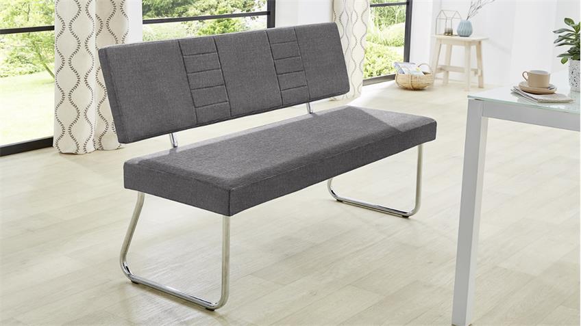 bank carlos polsterbank sitzbank esszimmerbank mit r ckenlehne grau. Black Bedroom Furniture Sets. Home Design Ideas