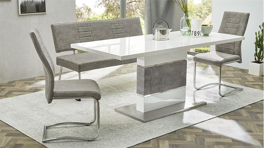 bank carlos polsterbank sitzbank mit r ckenlehne in vintage grau. Black Bedroom Furniture Sets. Home Design Ideas