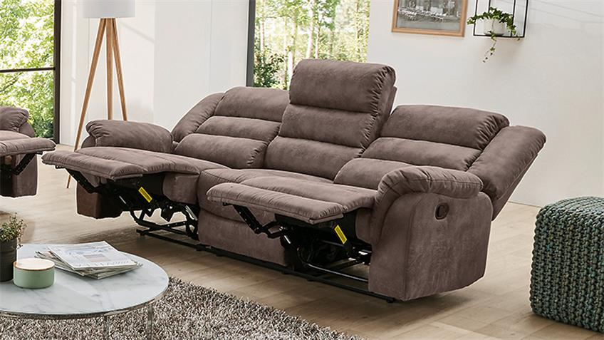 sofa cleveland sessel relaxsessel 3 sitzer mit funktion in braun 220. Black Bedroom Furniture Sets. Home Design Ideas