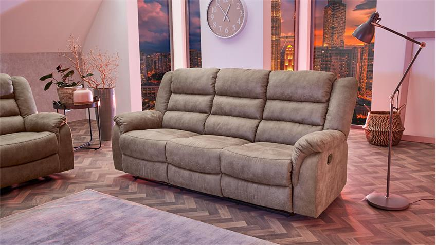 sofa cleveland sessel relaxsessel 3 sitzer funktion vintage grau braun. Black Bedroom Furniture Sets. Home Design Ideas