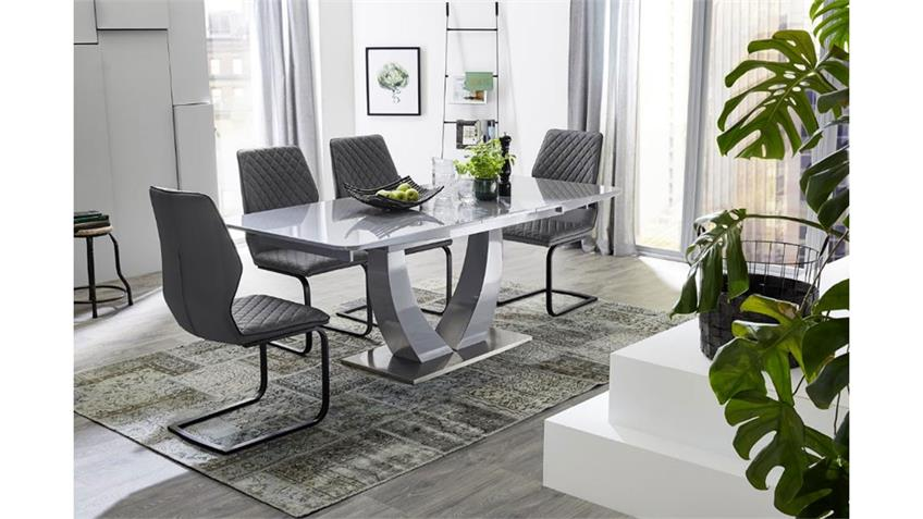 Schwingstuhl KOBLENZ 4er-Set Stuhl Esszimmerstuhl grau