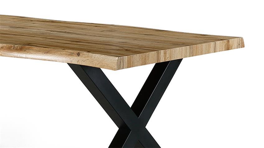 Tischgruppe MARLON PINALA Wildeiche Stoff taupe 5-teilig