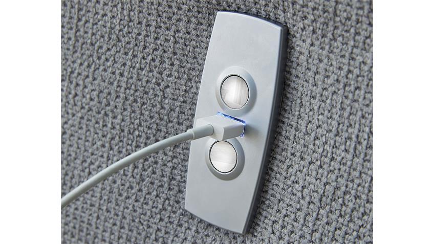 Ecksofa PESCARA Microfaser grau Federkern mit Motor USB