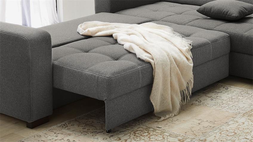 Ecksofa ALYA in Stoff grau mit Schlaffunktion und Bettkasten