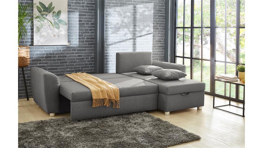 Ecksofa BARI in Stoff grau inkl. Schlaffunktion und Bettkasten