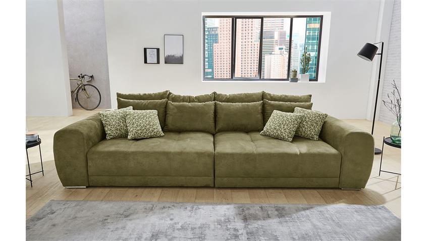 Big Sofa MOLDAU XXL Couch Microfaser olivgrün mit Kissen