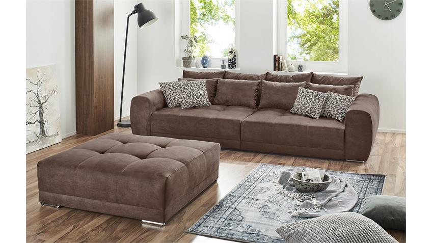 Big Sofa MOLDAU XXL Couch in Microfaser braun mit Kissen