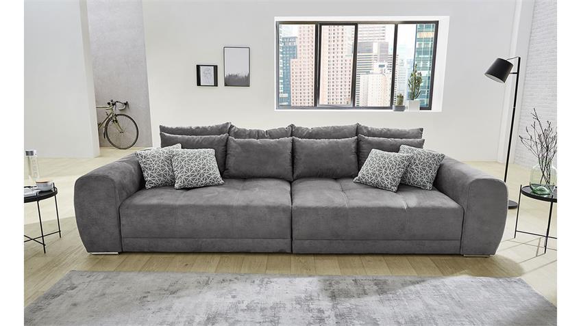Big Sofa MOLDAU XXL Couch Microfaser dunkelgrau Kissen