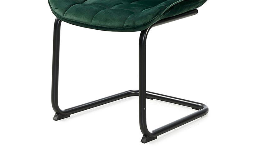 Schwingstuhl INGA 4er-Set Samtstoff dunkelgrün und schwarz