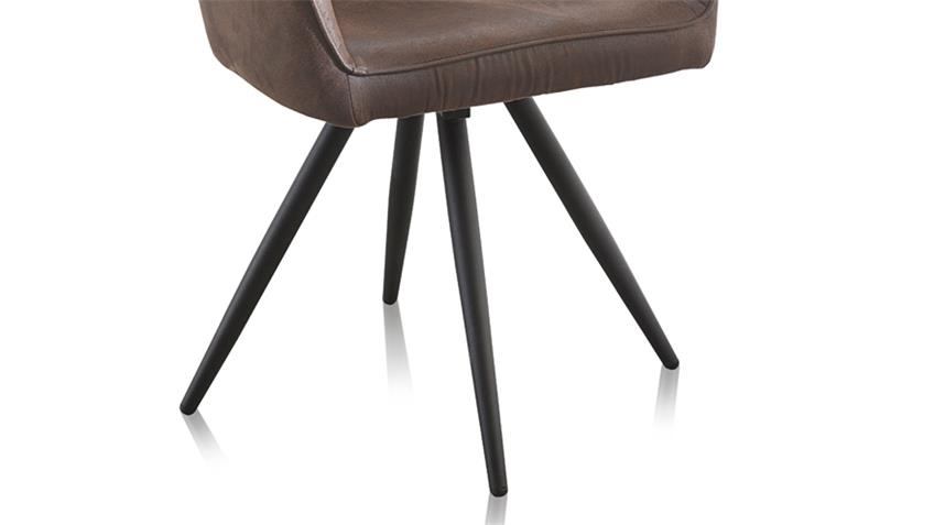 Stuhl SAMMY 2er-Set in Stoff antik dunkelbraun 360° drehbar