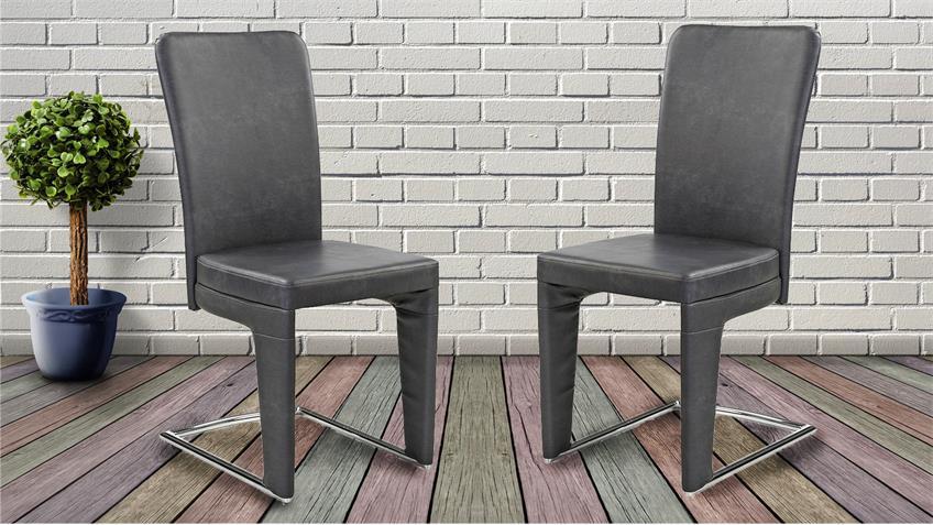 Schwingstuhl 4er Set HALTERN Esszimmerstuhl vintage grau