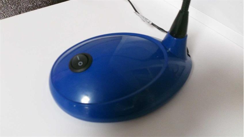 Schreibtischlampe Tischleuchte blau LED mit Schwanenhals