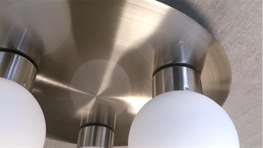 Deckenleuchte LED Nickel Opalglas weiß 3 x 3 Watt